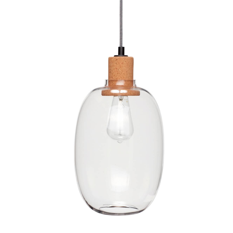 Hübsch Interior Glas Kork Pendelleuchte Design Leuchte